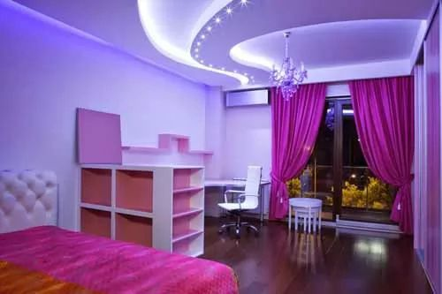 Awesome false ceiling designs for kids bedrooms with pink curtain and - 2016