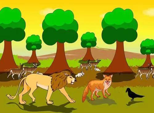 قصص اطفال - قصة الاسد والجمل والذئب والغراب
