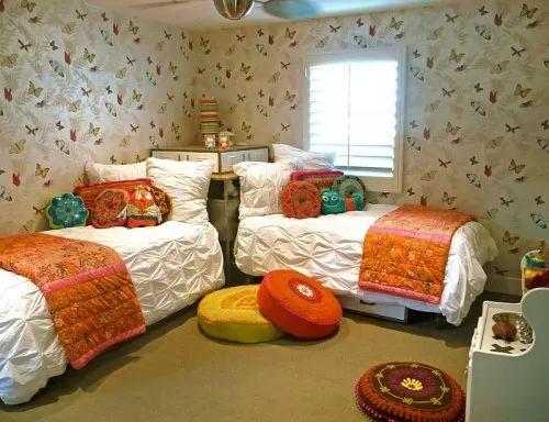 غرف نوم اطفال بسريرين كلاسيكية   سحر الكون