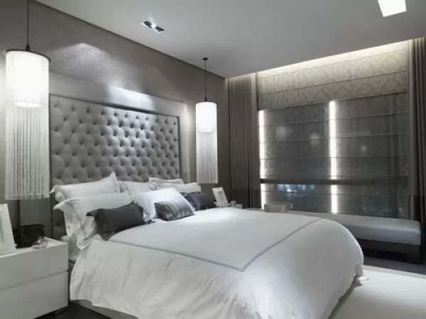 ديكورات غرف النوم المثيرة باللونين الابيض والرمادى   سحر الكون