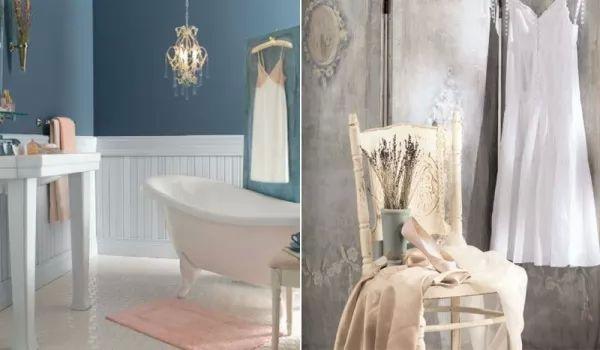 اللون الابيض مع الازرق السماوى في الوان الحمامات الهادئة