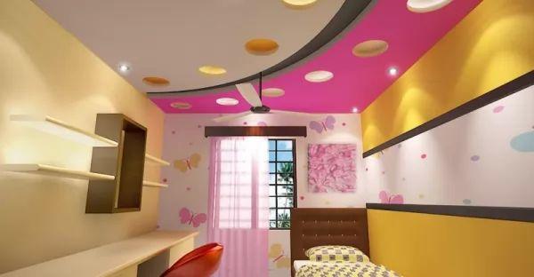 ديكورات جبس 2018 بالوان مبهجة لغرف لاطفال
