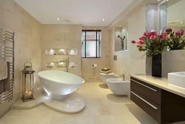 اضافة الاضاءات المختفية لبلاط الحمامات المودرن