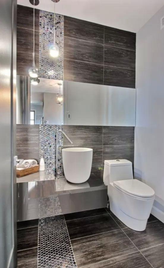 بلاط الحمامات المودرن باللون البنى