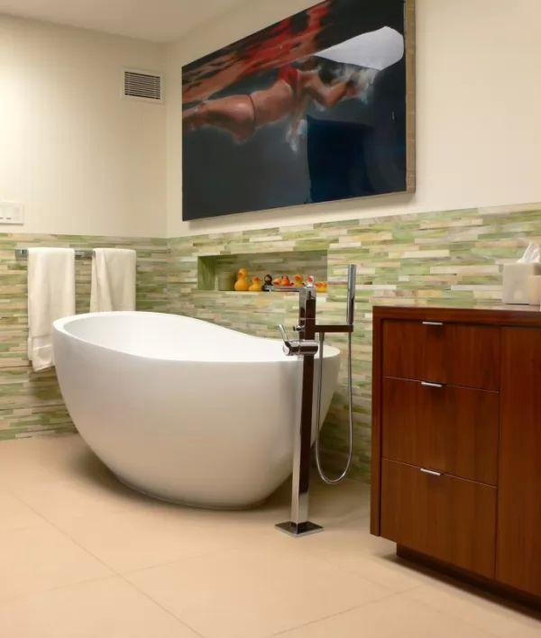 بلاط الحمامات الانيقة باللون الاخضر
