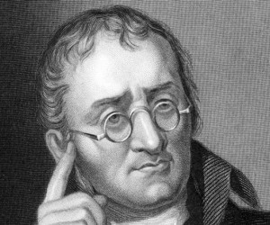 وضع جون دالتون نظرية جون دالتون الذرية كما انه اسس الكيمياء الحديثة ، وكان ايضا اول من يدرس عمى الالوان