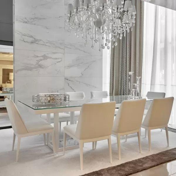 تصميم متميز من طاولات الطعام البيضاء